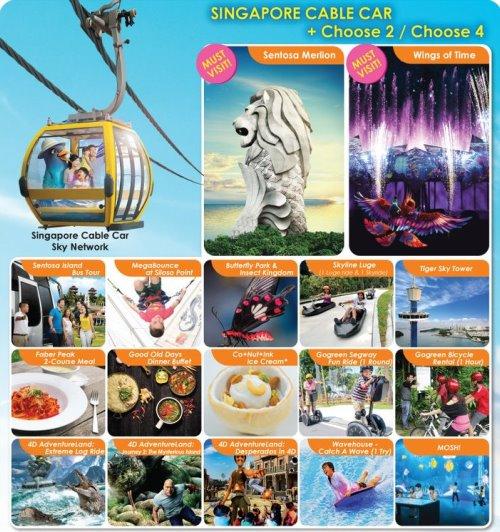 Канатная дорога Singapore Cable Car: CABLE CAR SKY PASS + 2 или 4 аттракциона/обеда/тура на выбор