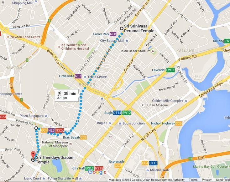 Маршрут движения шествия Тайпусам на карте