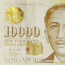 Купюра 10000 сингапурских доллара, лицевая сторона