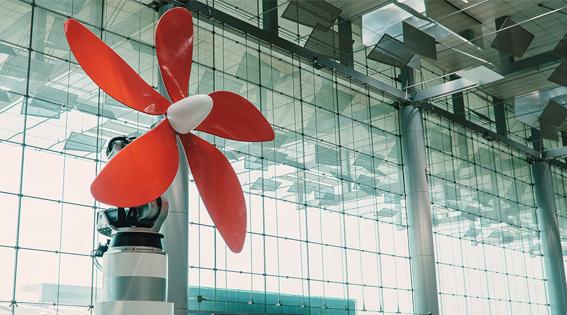 Пропеллер Daisy в аэропорту Чанги