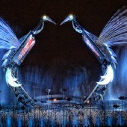 Световое шоу Crane Dance на острове Сентоза, Сингапур