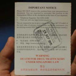 Иммиграционная карта в Сингапуре